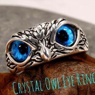 【新品 未使用 】Crystal Owl Eye Ring Bl...