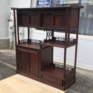 中古 民芸家具 鉄刀木(タガヤサン) 紫檀 茶棚(飾り棚、収納棚)