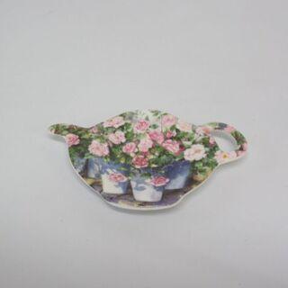 htp-631 ティートレイ 花柄 ティーバッグホルダー 小皿 ...