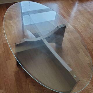 ガラスと木のローテーブル