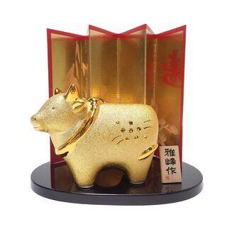 【ネット決済・配送可】CB791 福々舎 雅峰作 牛 干支 置物 金