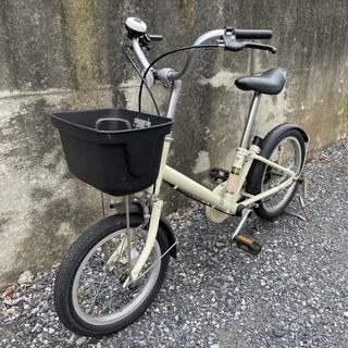 中古 無印良品16型幼児用自転車・押し棒付き アイボリー