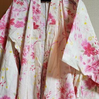 女の子浴衣 白 140センチ 11才から12才 お花やリボン柄 ...