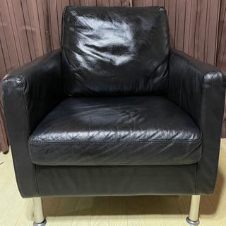 無印良品 シングルソファ 革 レザー ブラック 黒 MUJI