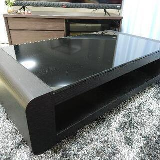 センターテーブル 黒 ガラステーブル ローテーブル