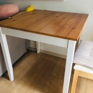 イケア ダイニングテーブル 椅子2脚 セット 無垢材 2人用 ホ...