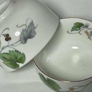 ★吾山窯 白磁 花柄 湯呑み茶碗 湯飲み 5客 内側にも柄 茶器 ★