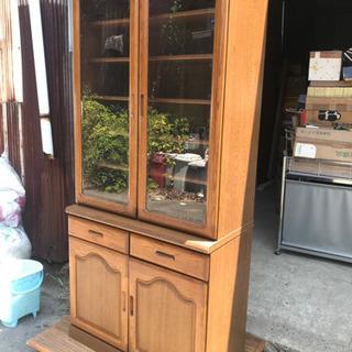 【昭和レトロ】食器棚 木製 ガラス扉 引き出し付 戸棚 上…