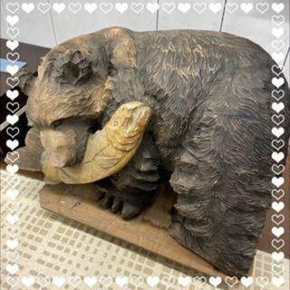 🐻昭和レトロ 特大木彫りクマ 高さ約70cm 横105cm…