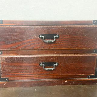 昭和レトロなミニ箪笥 小物入れ 木箱 卓上チェスト 木製引…