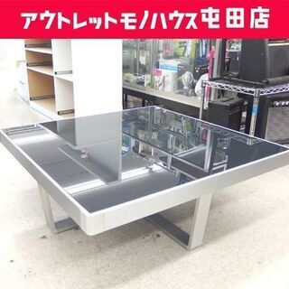 リビングテーブル 100×100 ガラス天板 スクエア ア…