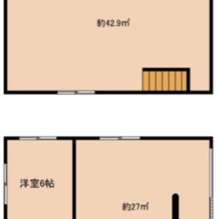 2階建倉庫➕部屋2室 駐車場1台付き