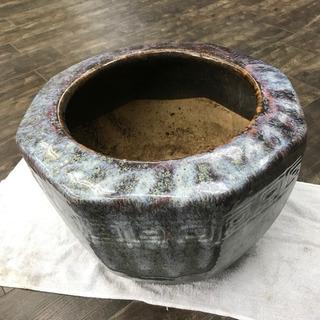 【ネット決済・配送可】★時代★陶器製 八角火鉢 青色 39cm★...