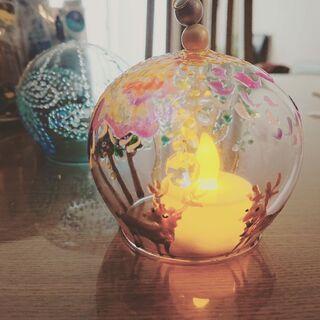 【ネット決済】ガラス絵の具で絵付けをしたランプ