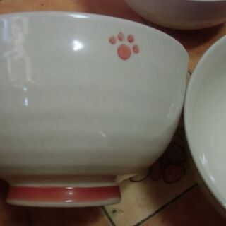 猫の足跡 デザイン 丼 どんぶり 1~3点 お譲りします。*石川...