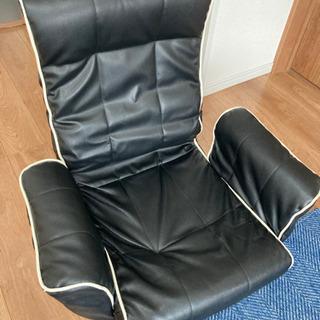 【無料】黒合皮の座椅子