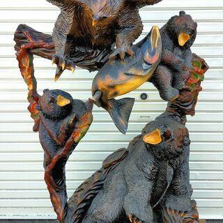 熊 木彫り 鷹 サケ 民芸品 高さ約161cm 装飾品 置物 一...