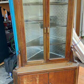 コーナーキャビネット アンティーク調 収納棚 保管 食器棚