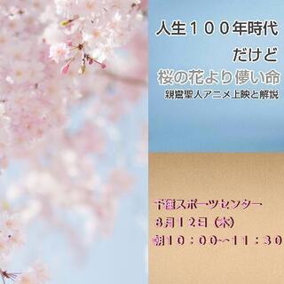 人生100年時代だけど「桜の花より儚い命」親鸞聖人アニメ上映と解説(千種スポーツセンター)の画像