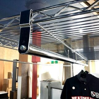 札幌近郊 送料無料 メタルラック スチールラック シェルフ ハンガー 洋服掛け グローゼット 収納 - 家具