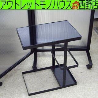 サイドテーブル ガラステーブル テーブル ガラス天板 ブラック ...