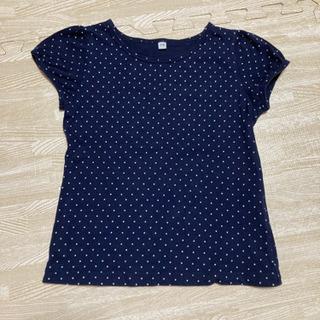 ♡美品♡無印良品 110  パフスリーブTシャツ 紺 ドット