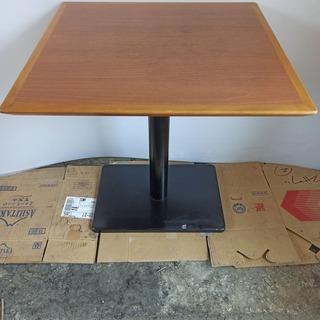 カフェテーブル 木目 木製 一本足 正方形 机 ダイニングテーブ...