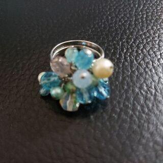 ビーズリング 指輪 フリーサイズ【中古】