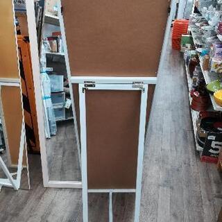 【1,990円】木製フレーム スタンドミラー 姿見鏡 幅40cm 高さ150cm ホワイト塗装 - 名古屋市