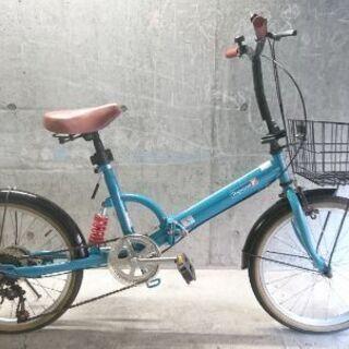 折り畳み自転車中古 Topone 外装6段変速 カゴ・リアサスペ...