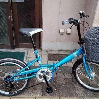 [SFB]20吋 折り畳み自転車 外装6段/LEDオート/ブルー