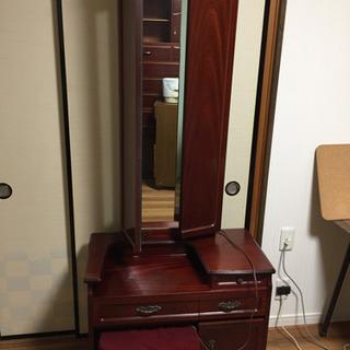 鏡台 三面鏡コンセント付きアンティーク昭和家具