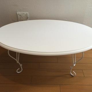 可愛い折りたたみテーブルホワイト