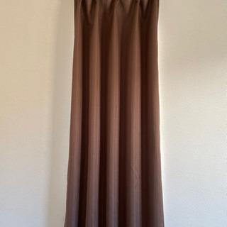 小窓用カーテン、レースセット ブラウン 遮光 1.5倍ひだ