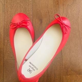 【新品】赤リボンのバレエシューズ