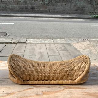 【ネット決済・配送可】籐 ラタン 舟型 枕 籐枕 昼寝 昭和レト...