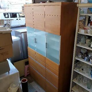 おしゃれな木製 ウッドナチュラル×ガラス扉の食器棚 幅118㎝