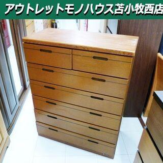 和タンス 6段 幅83.5×奥41×高105cm 木製 ブラウン...