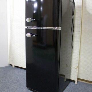 2ドアレトロ冷凍冷蔵庫 メタリックハンドル おしゃれ 114L ...
