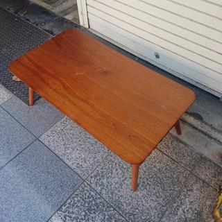 #5557 テーブル スクエアー90 棚つき ブラウン ウ…