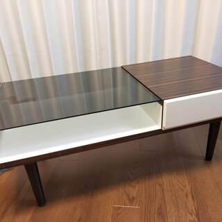 リビングローテーブル、木目調、ガラス、引き出し付き【直接取…