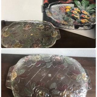 大皿2枚組パーティー用 厚みあり 花柄ガラス