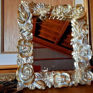 アンティーク 木製 フレームミラー バラ 鏡 一部破損あり / ...