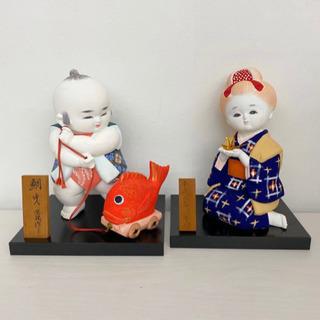 博多人形 男の子女の子2体セット 金鶴 折り鶴 台座付き