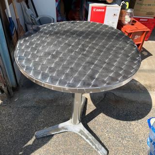 シルバー テーブル カフェテーブル ガレージ 外用に