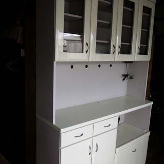 ◆ニトリ ホワイト系 カップボード レンジボード 食器棚 …
