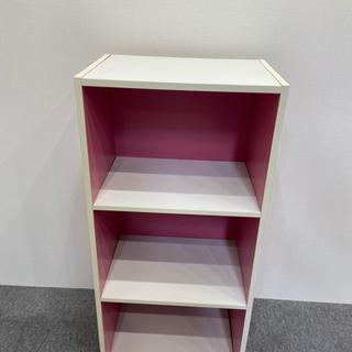 3段カラーボックス 白ピンク