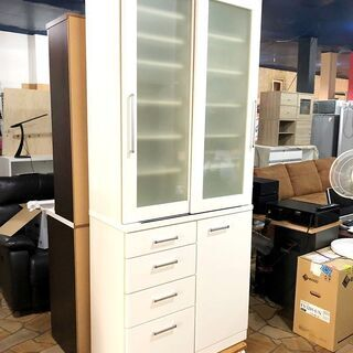 札幌近郊 送料無料 ニトリ 食器棚 ホワイト 大量収納 幅…