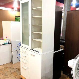 札幌近郊 送料無料 ニトリ 食器棚 ホワイト 大量収納 幅88㎝×奥行42㎝×高さ210㎝ - 家具