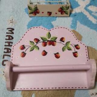 【値下げしました✨】イチゴのペィンティングタオルかけ&鍵かけ...